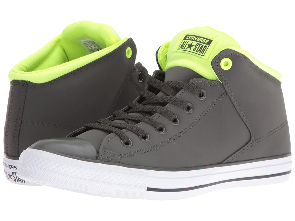 Converse - Chuck Taylor All Star Leather Neoprene Street Hi (Cast Iron/White/Volt) Athletic Shoes