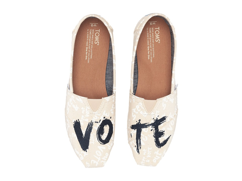 TOMS - Classic Canvas Vote (Natural) Women's Slip on Shoes