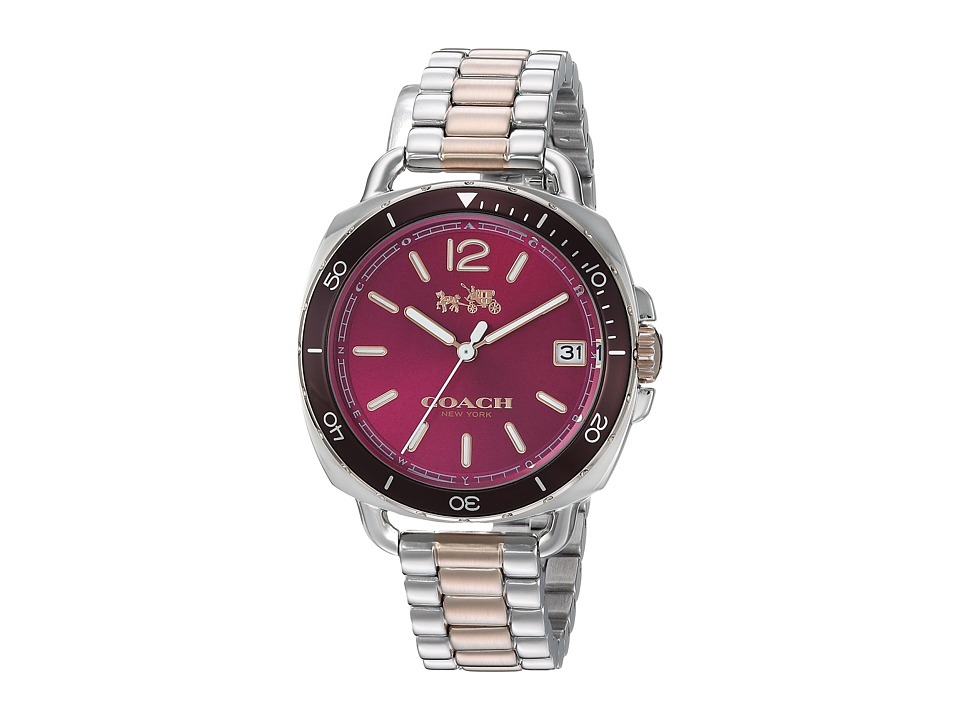 COACH - Tatum 34mm Bracelet with Aluminum Bezel (Two-Tone/Carnation) Watches