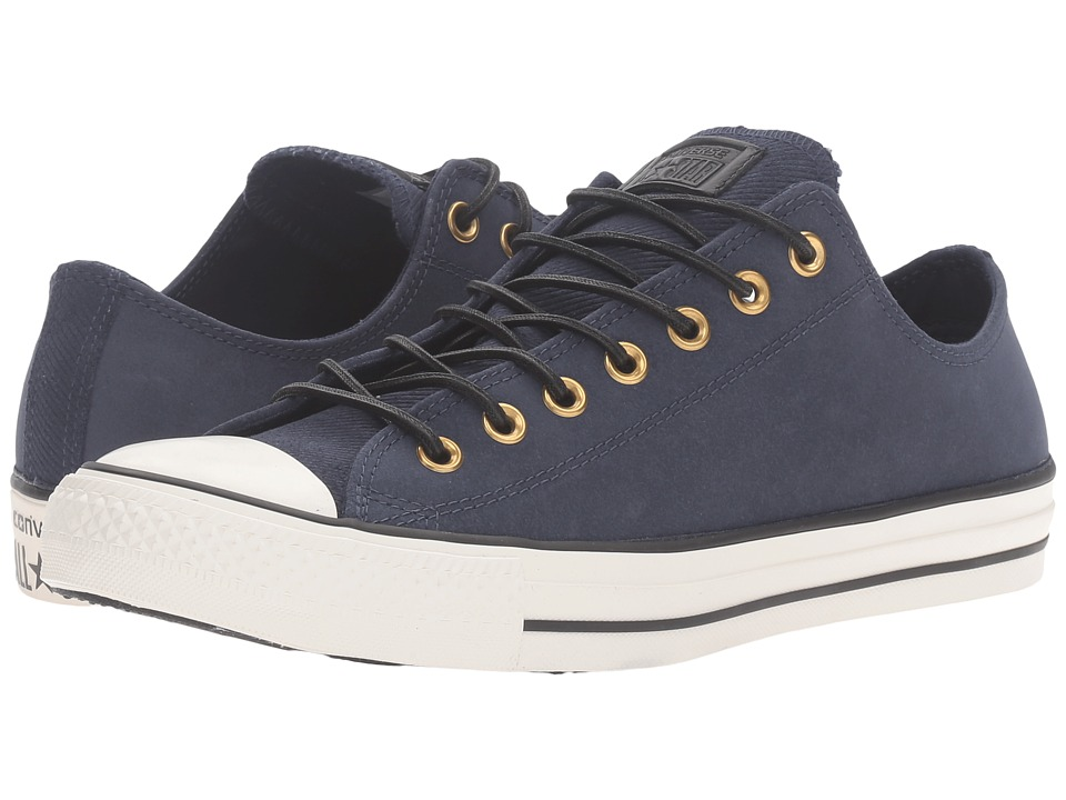 Converse - Chuck Taylor All Star Leather/Corduroy Lo (Obsidian/Egret/Black) Athletic Shoes