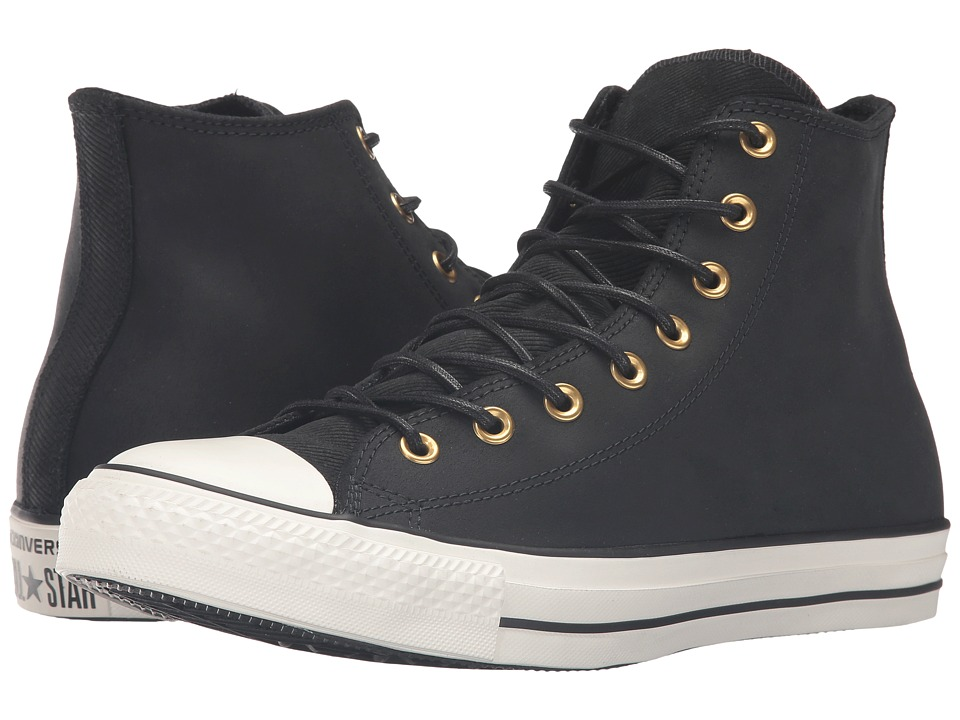 Converse - Chuck Taylor All Star Leather/Corduroy Hi (Black/Egret/Black) Athletic Shoes