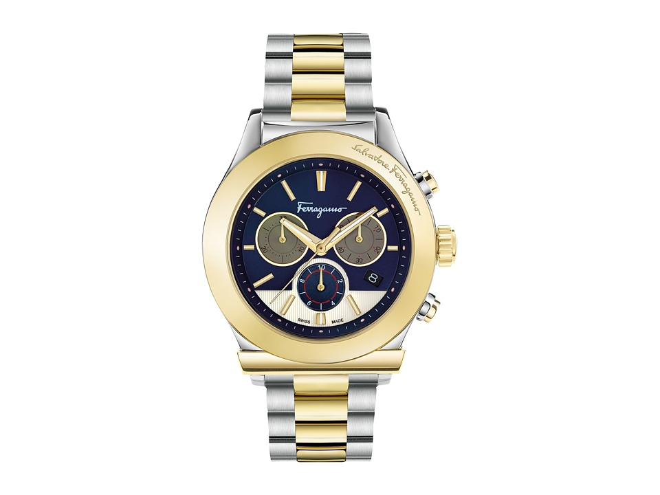 Salvatore Ferragamo - Ferragamo 1898 FFM11 0016 (Two-Tone/Stainless Steel/Yellow Gold/Blue) Watches