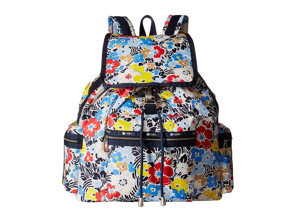 LeSportsac - 3-Zip Voyager (Ocean Blooms Navy) Handbags
