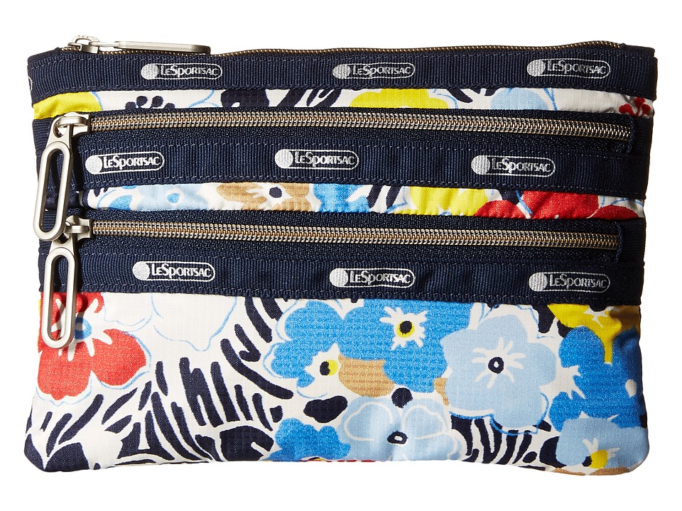 LeSportsac - Classic 3-Zip Pouch (Ocean Blooms Navy) Wallet