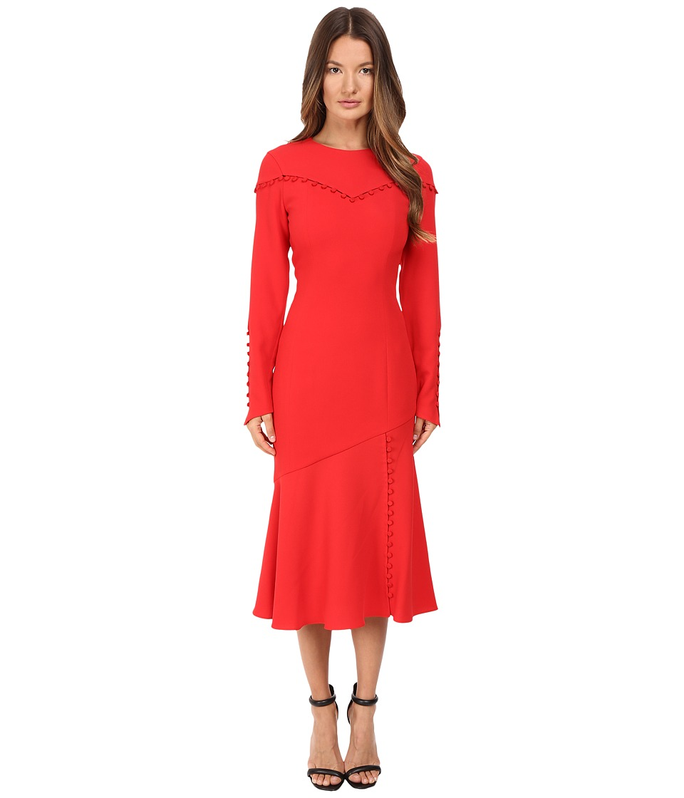Prabal Gurung - Long Sleeve Crew Neck Dress w/ Separating Yoke (Cherry) Women's Dress