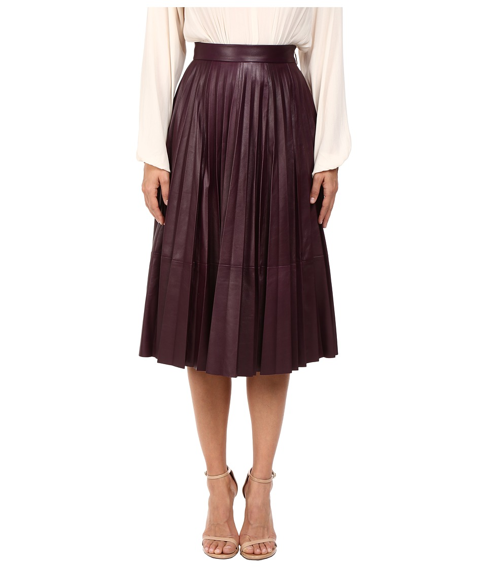 Prabal Gurung - Pleated Leather Skirt (Blackberry) Women's Skirt