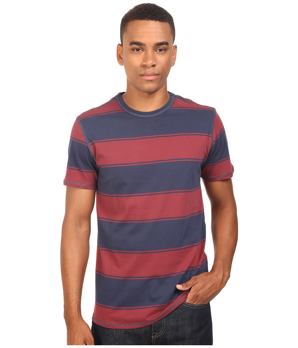 Tavik - Newport Short Sleeve Knit (Indigo/Oxblood) Men's Clothing