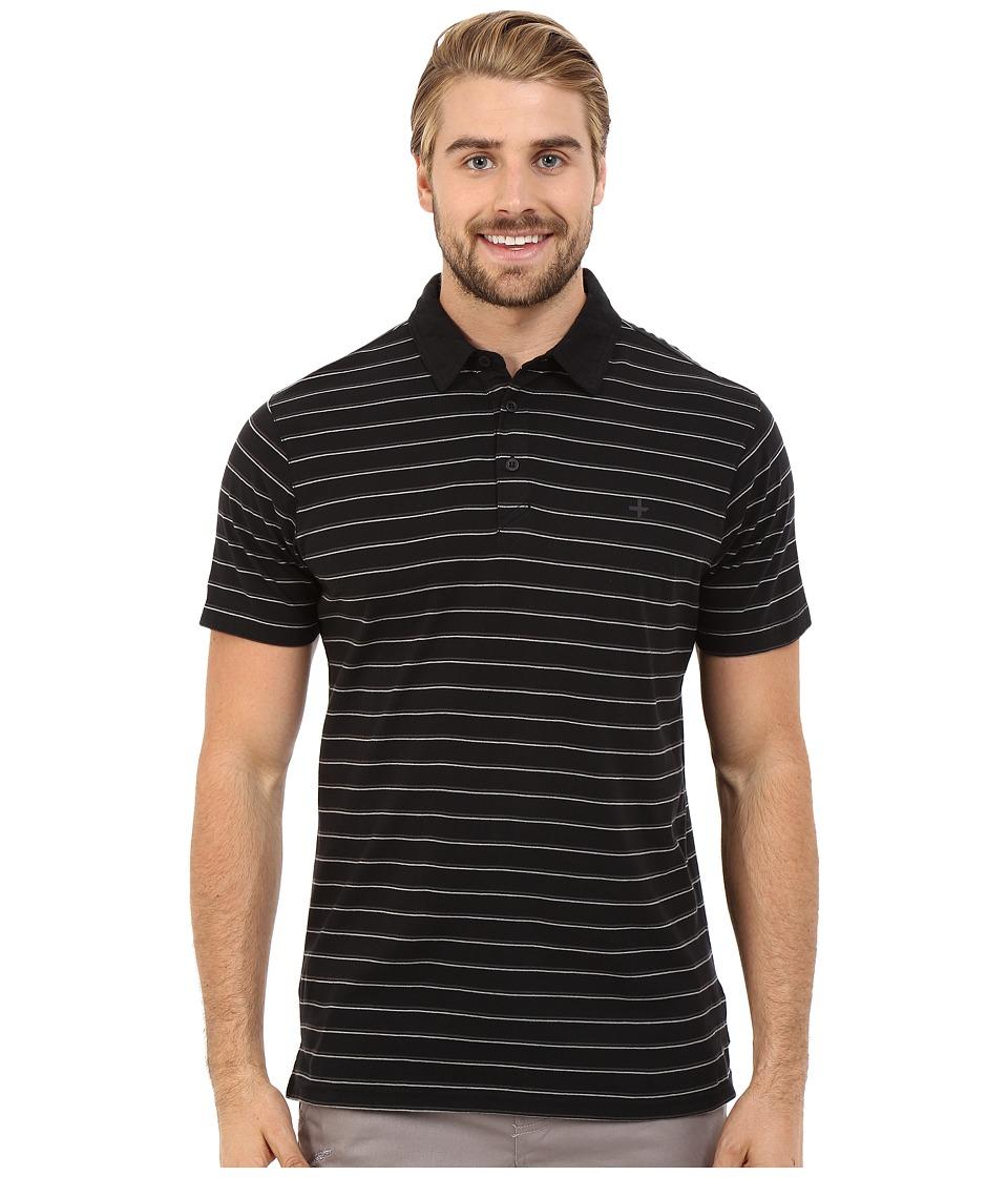 Tavik - Swift Polo Short Sleeve Knit (Jet Black Stripe) Men's Short Sleeve Knit
