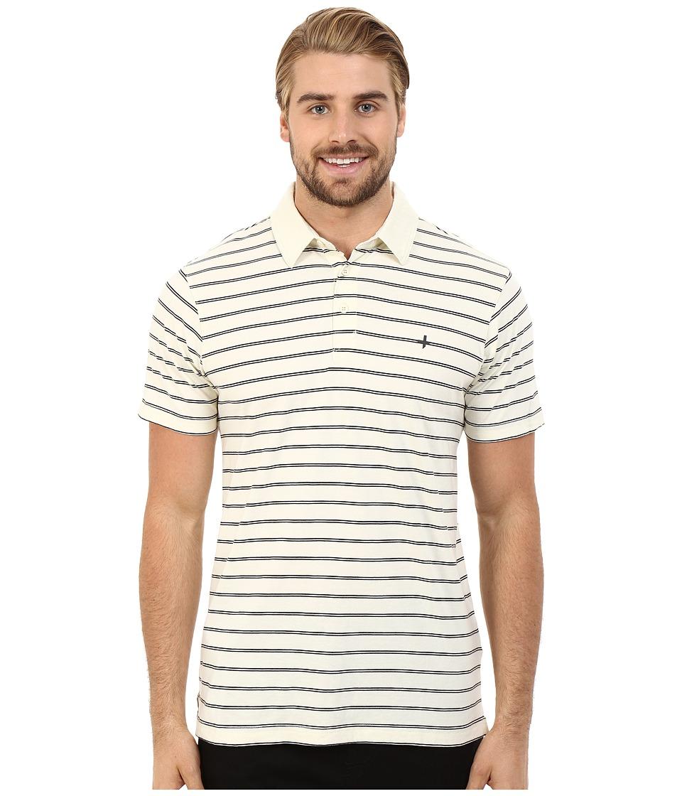 Tavik - Swift Polo Short Sleeve Knit (Bone Stripe) Men's Short Sleeve Knit