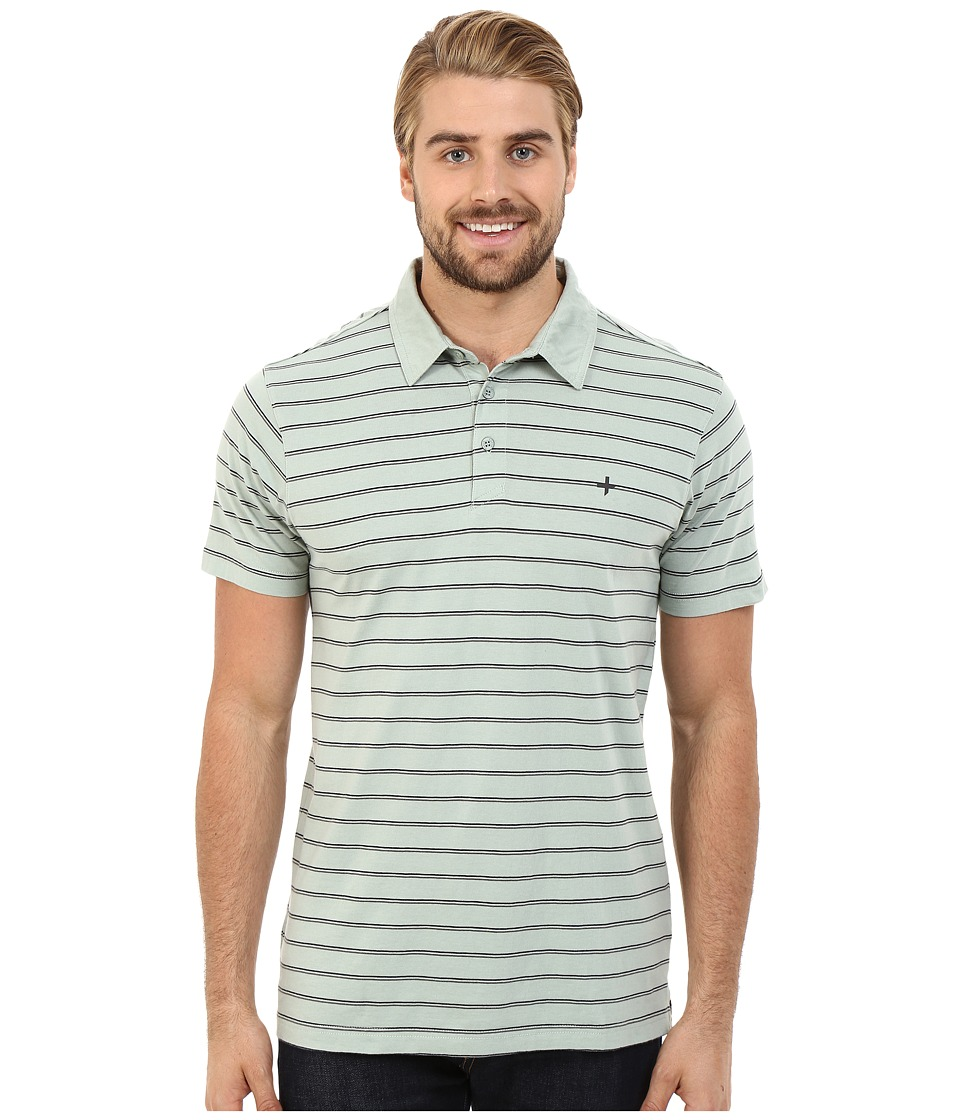 Tavik - Swift Polo Short Sleeve Knit (Light Green Stripe) Men's Short Sleeve Knit