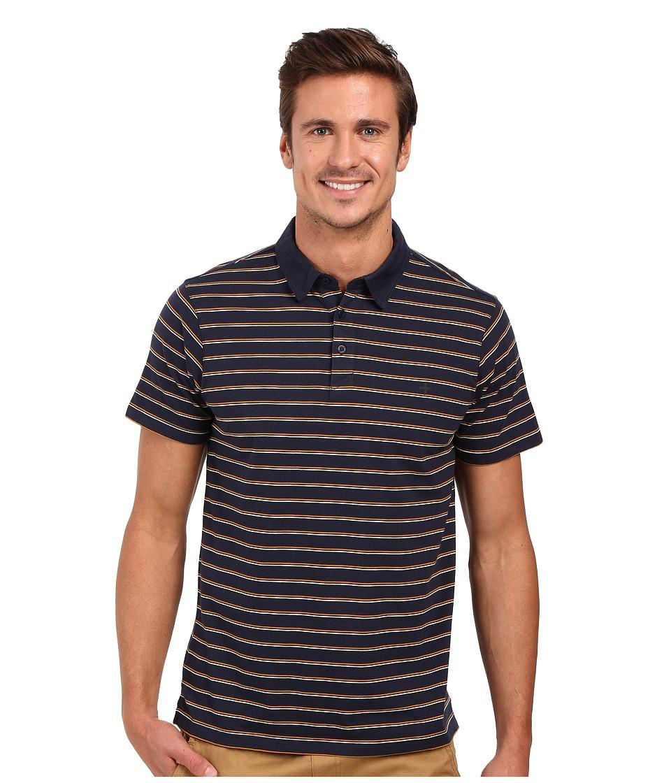 Tavik - Swift Polo Short Sleeve Knit (Indigo Stripe) Men's Short Sleeve Knit
