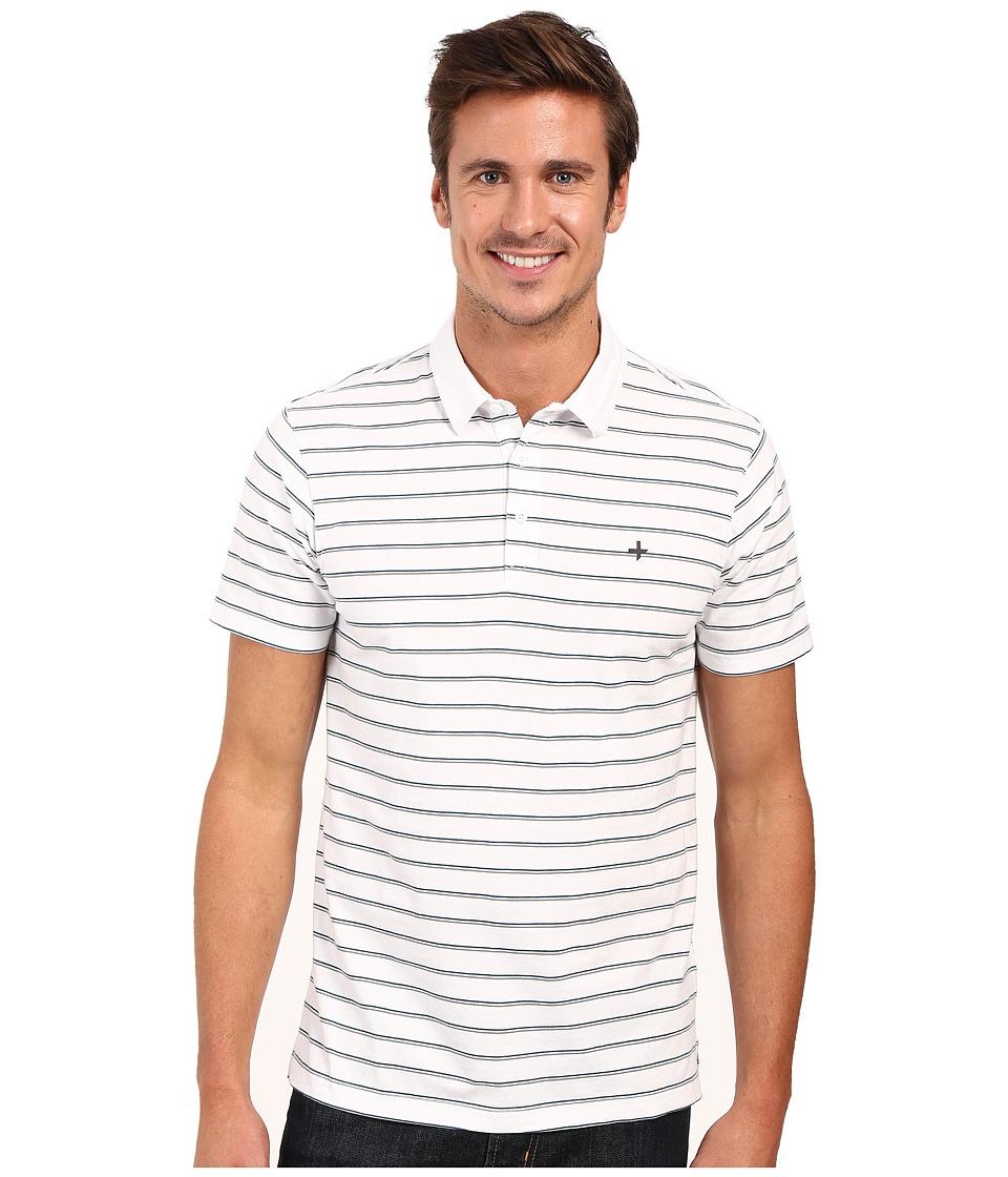 Tavik - Swift Polo Short Sleeve Knit (White Stripe) Men's Short Sleeve Knit