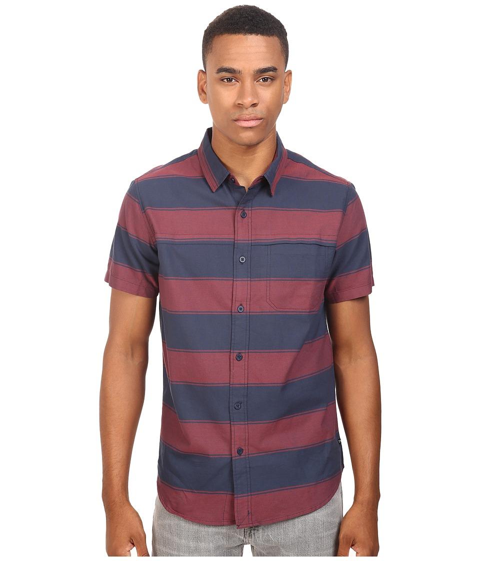 Tavik - Shin Woven Short Sleeve Shirt (Indigo/Oxblood) Men's Short Sleeve Knit