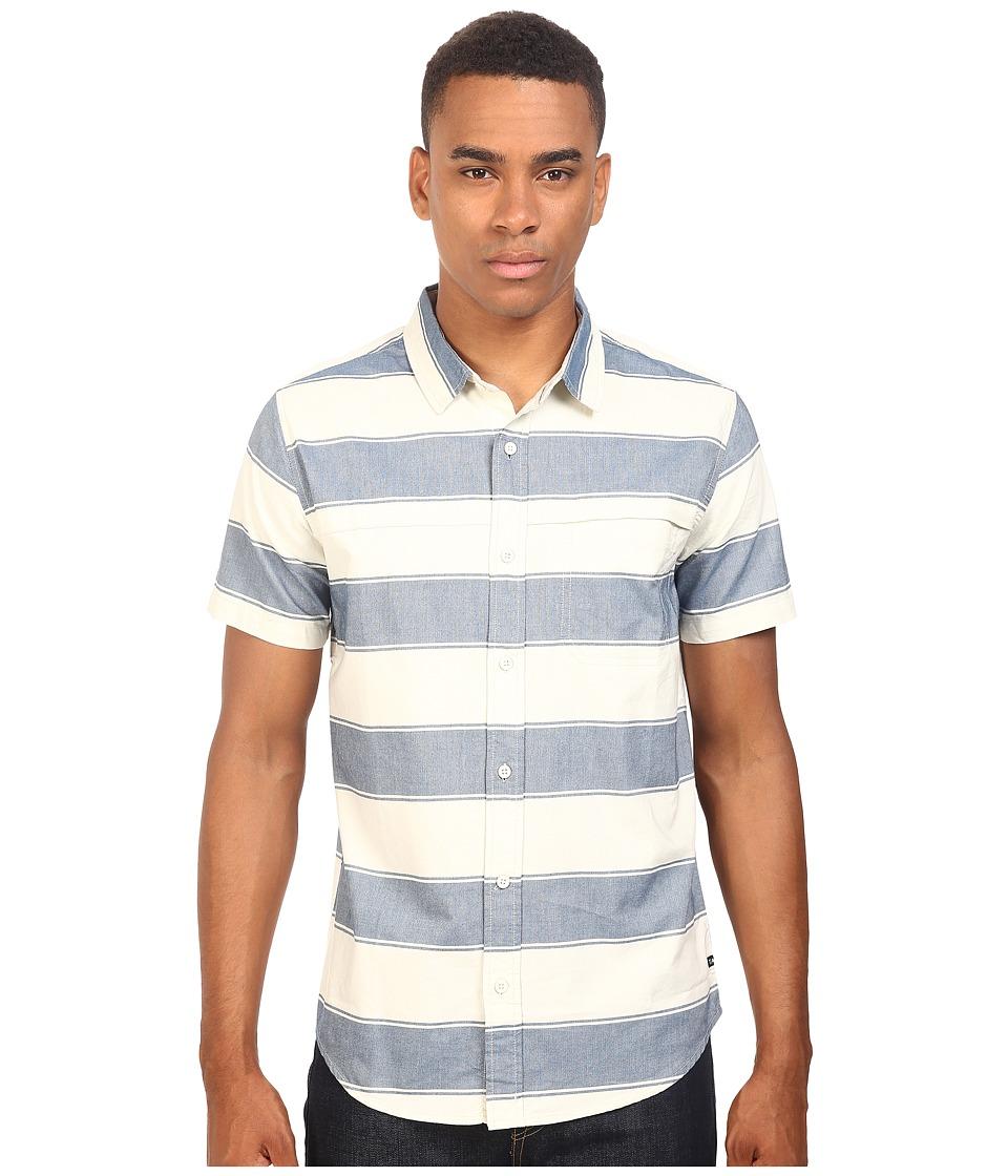 Tavik - Shin Woven Short Sleeve Shirt (Bone/Blue) Men's Short Sleeve Knit