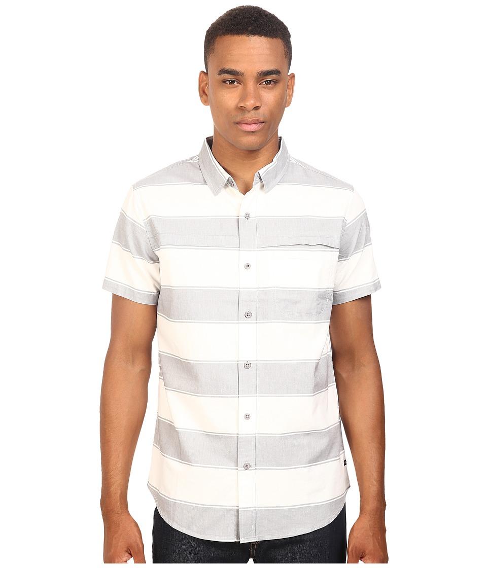 Tavik - Shin Woven Short Sleeve Shirt (White/Light Grey) Men's Short Sleeve Knit