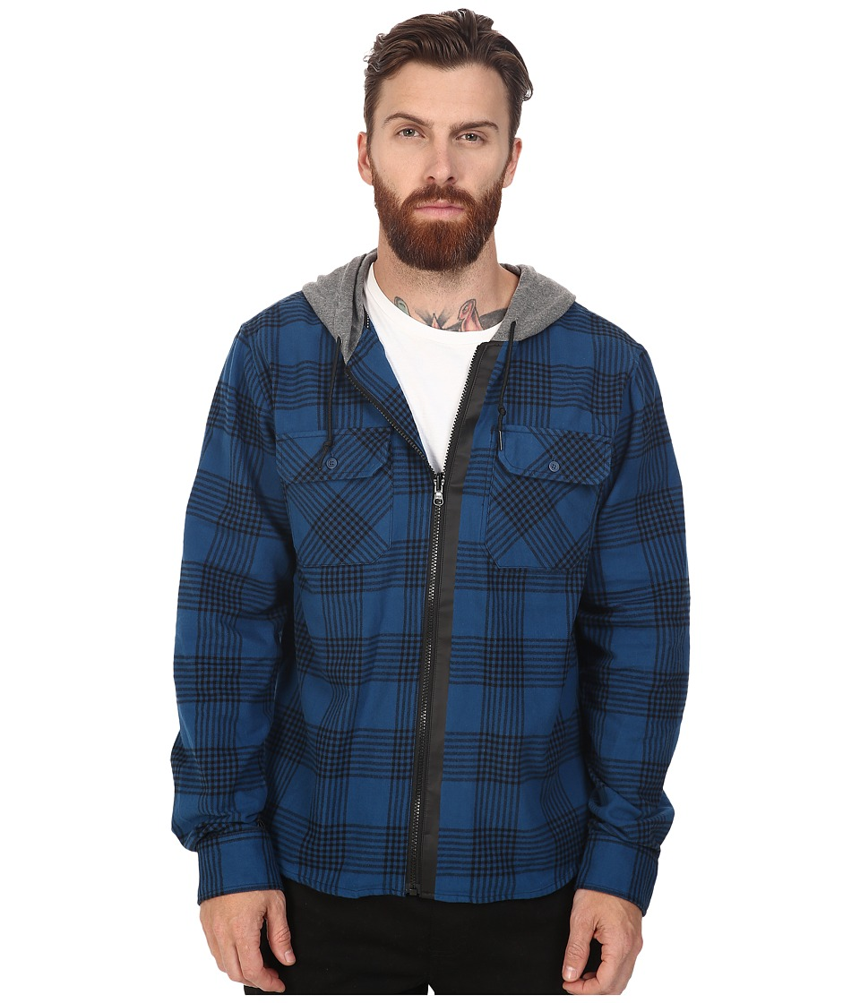 Tavik - Izumi Long Sleeve Hooded Flannel (Blue/Heather Grey) Men's Short Sleeve Knit
