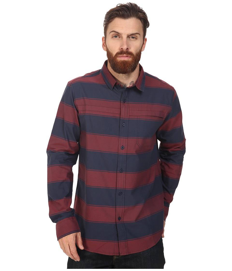 Tavik - Shin Long Sleeve (Indigo/Oxblood) Men's Short Sleeve Knit
