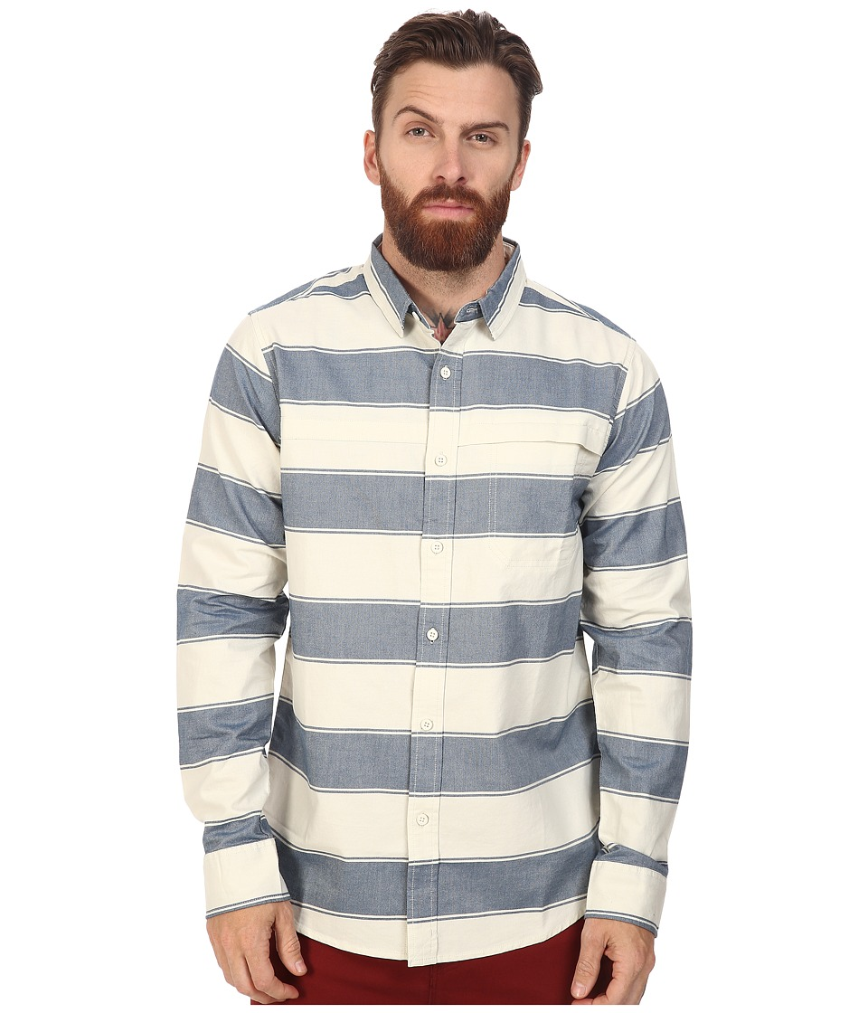 Tavik - Shin Long Sleeve (Bone/Blue) Men's Short Sleeve Knit