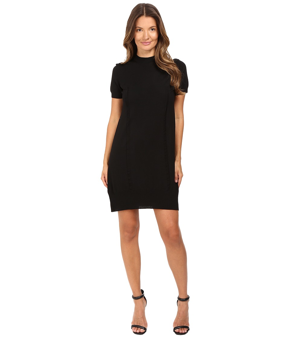 Vera Wang Short Sleeve Knit Dress w/ Tulle Back (Black) Women