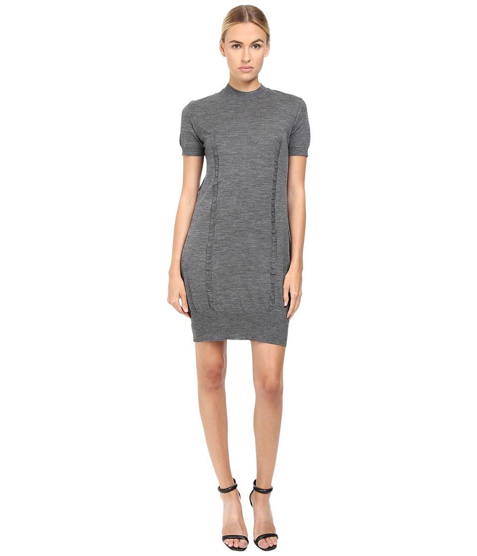 Vera Wang - Short Sleeve Knit Dress w/ Tulle Back (Grey) Women's Dress