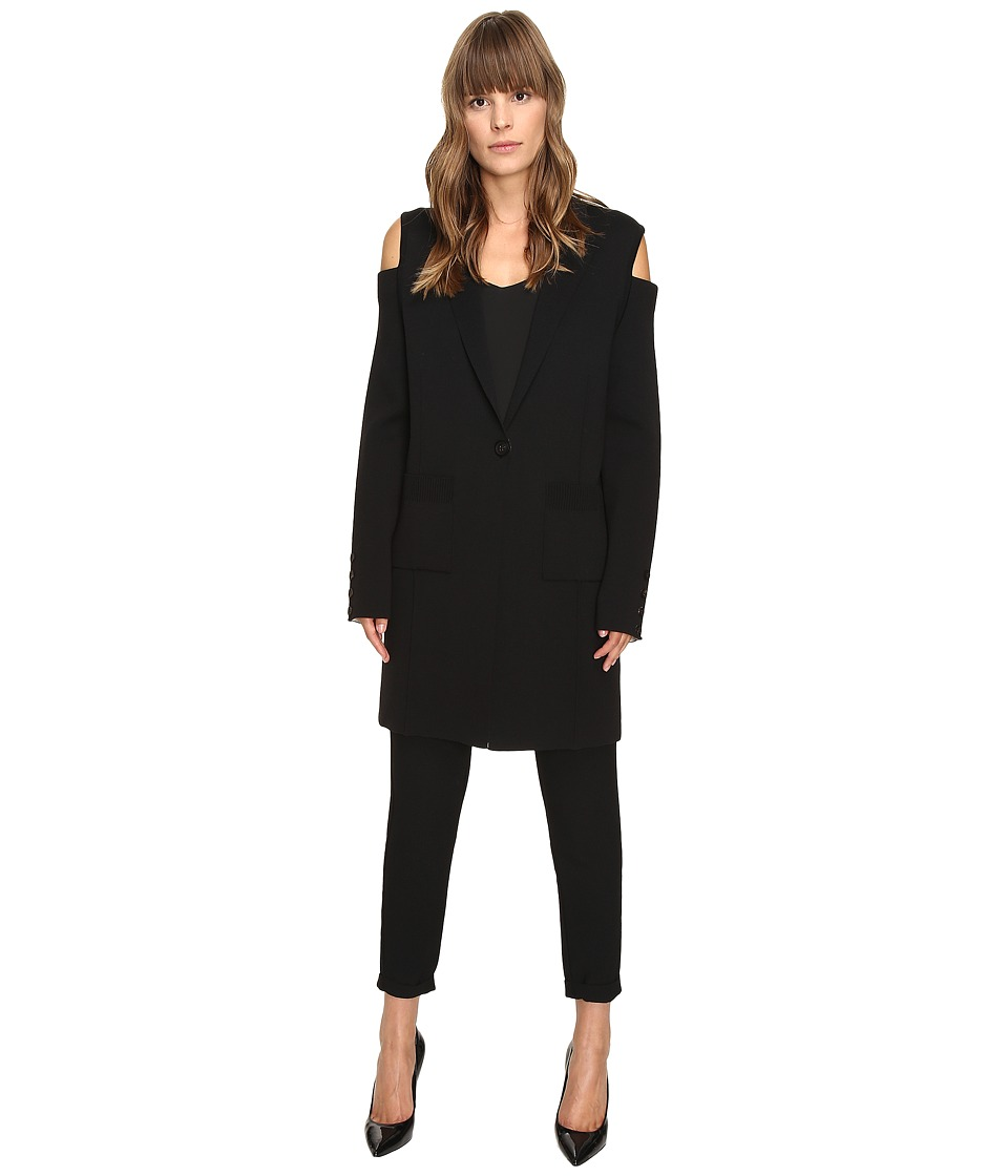 Vera Wang - Long Sleeve Knit Coat w/ Cold Shoulder (Black) Women's Coat