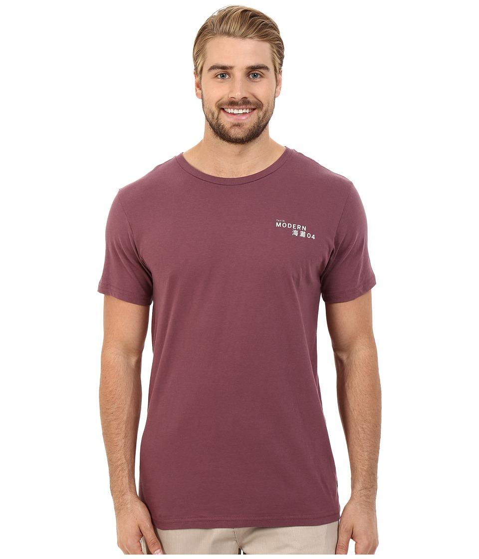 Tavik - Meros Short Sleeve Printed Tee (Wine) Men's T Shirt