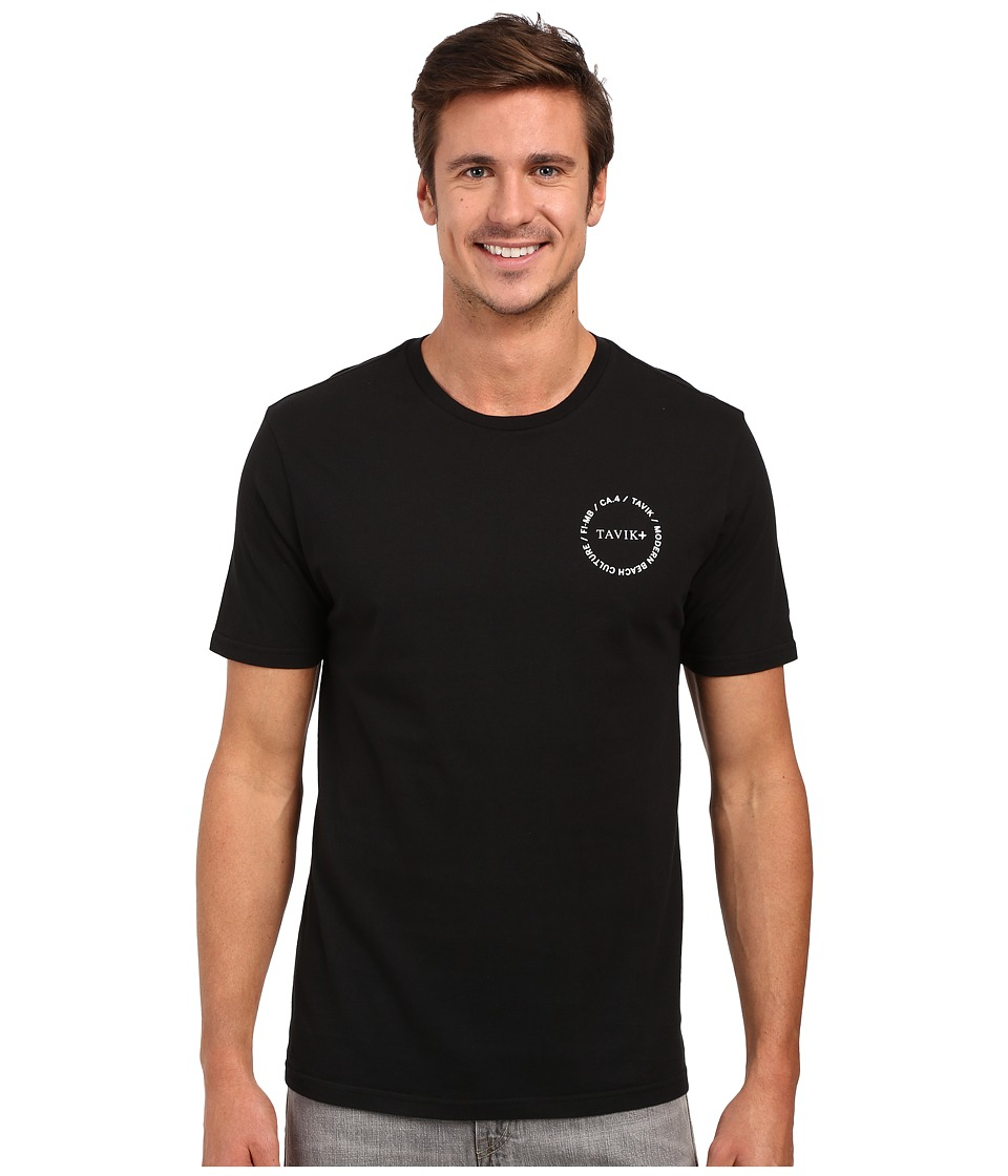 Tavik - Crew Short Sleeve Printed Tee (Black) Men's Short Sleeve Pullover