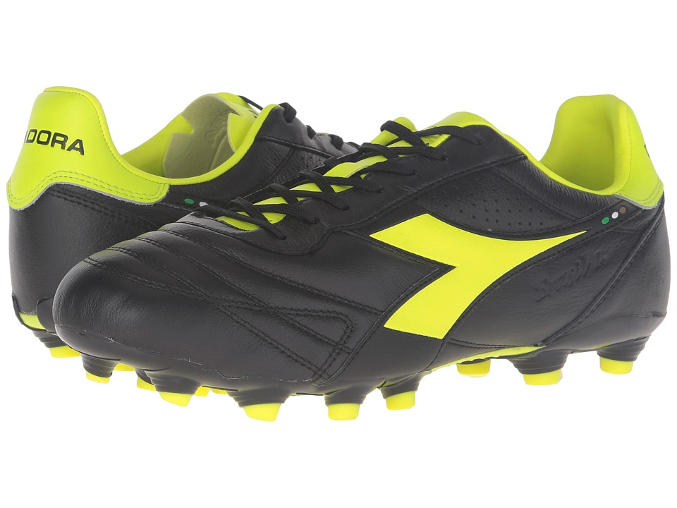 Diadora - Brasil K Plus MG 14 (Black/Yellow Fluo) Men's Soccer Shoes