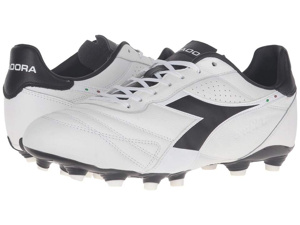 Diadora - Brasil K Plus MG 14 (White/Black) Men's Soccer Shoes