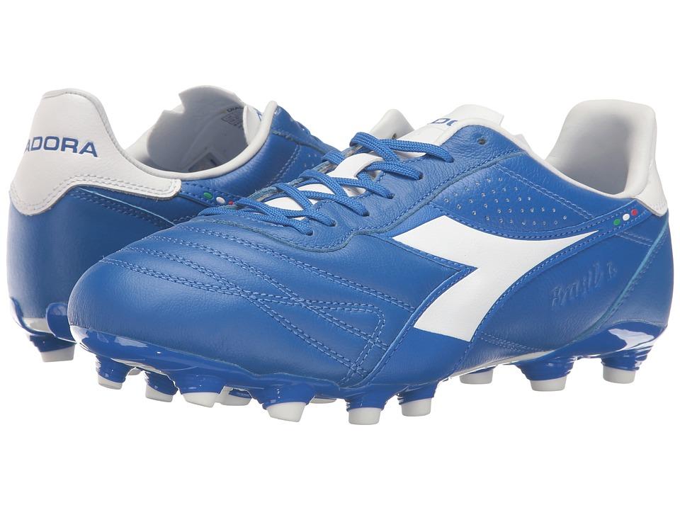 Diadora - Brasil K Plus MG 14 (Royal/White/Matchwin) Men's Soccer Shoes