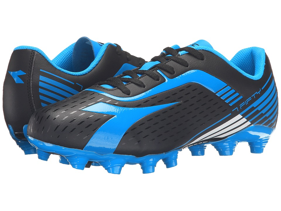 Diadora - 7Fifty MG 14 (Black/Blue Fluo) Men's Soccer Shoes