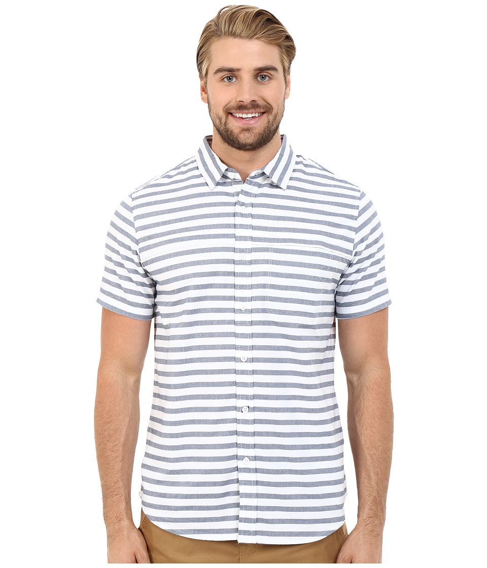 Tavik - Shin Woven Short Sleeve Shirt (White Stripe) Men's Short Sleeve Button Up