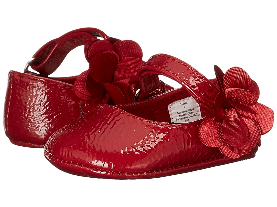 Baby Deer - Patent Skimmer with Flower (Infant) (Crinkle Red) Girl's Shoes