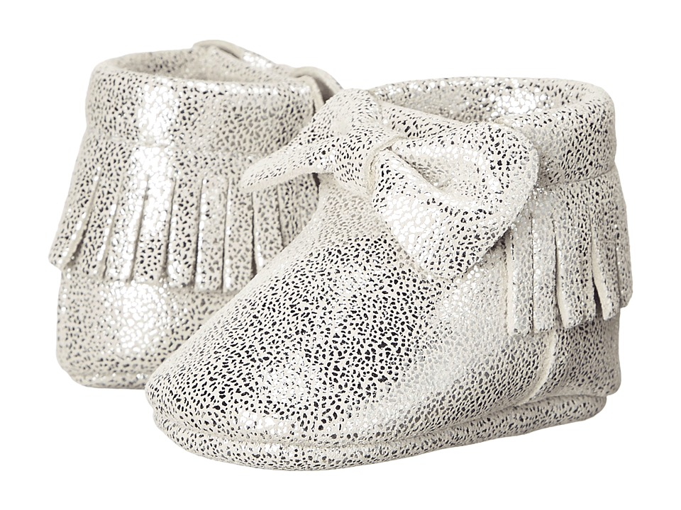 Baby Deer - Metallic Bow Moccasin (Infant) (Silver) Girls Shoes