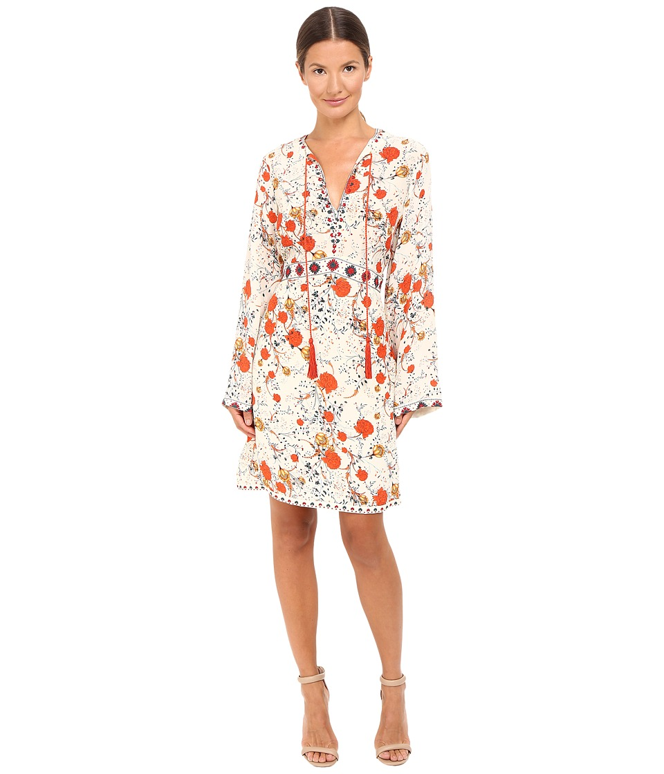 The Kooples - Hippy Flower Print Silk Dress (Ecru) Women's Dress