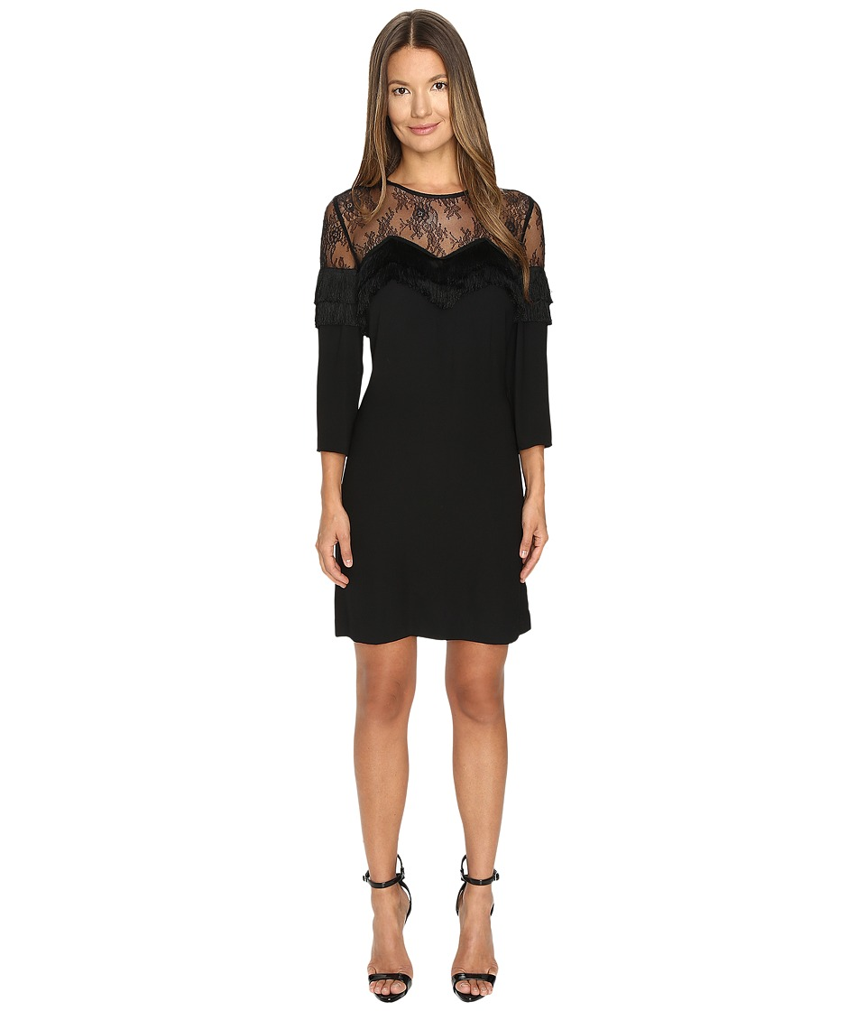 The Kooples Crepe Dress with Lace and Fringes (Black) Women