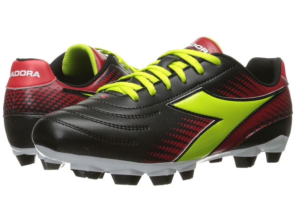 Diadora - Mago R W LPU (Black/Lime/Red) Women's Soccer Shoes