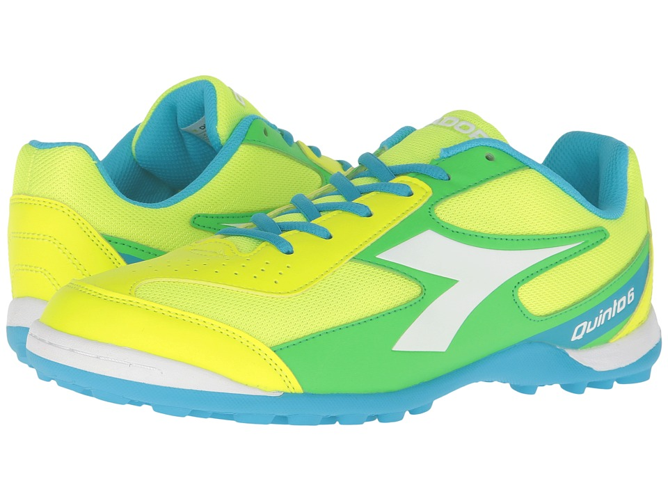 Diadora - Quinto 6 TF (Yellow Fluo/Blue Fluo/Green) Men's Soccer Shoes