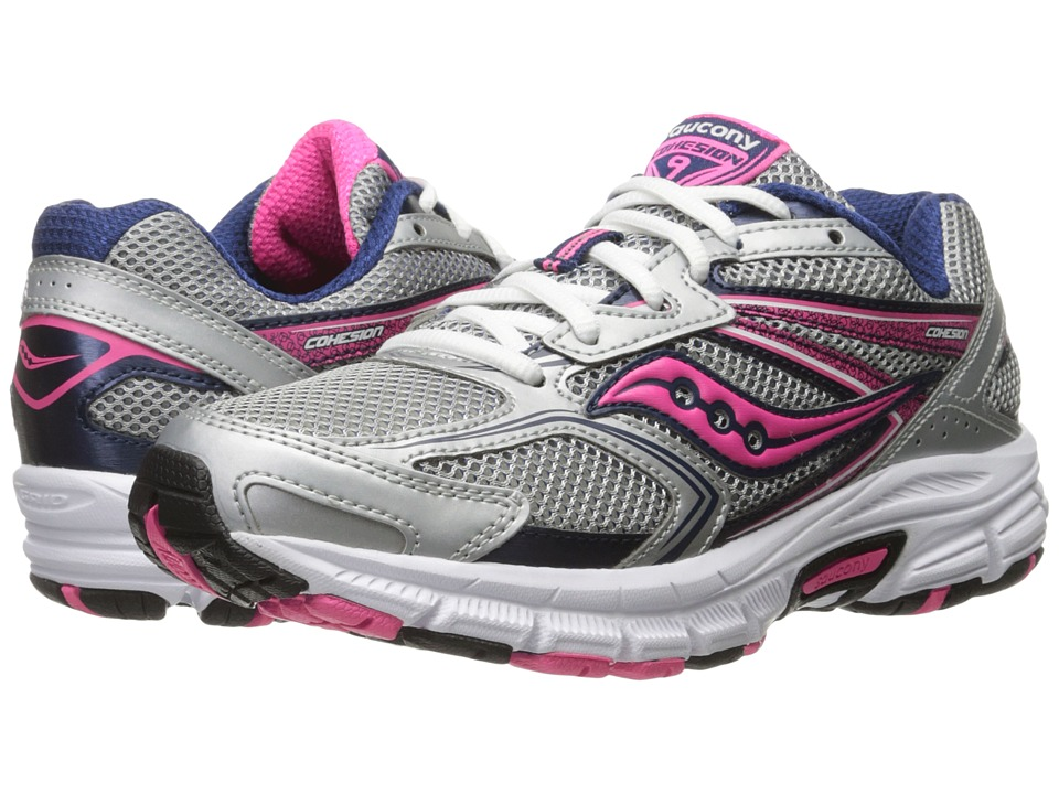 Saucony - Cohesion 9 (Silver/Navy/Pink) Women's Running Shoes