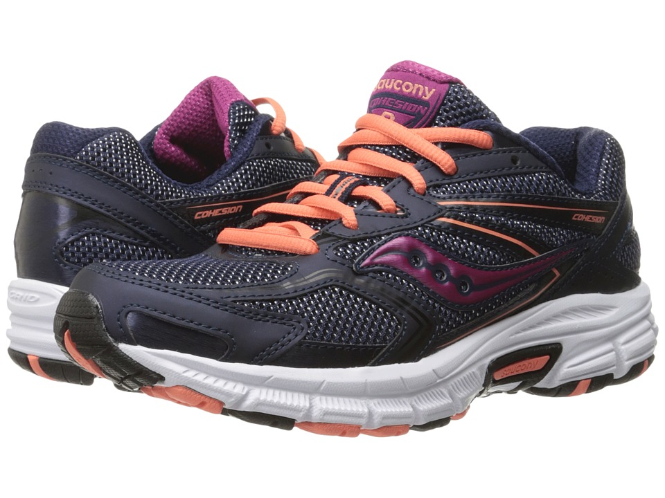 Saucony - Cohesion 9 (Navy/Coral/Purple) Women's Running Shoes