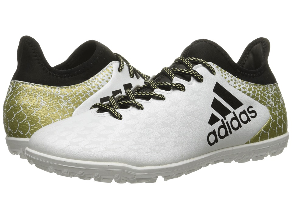 adidas - X 16.3 TF (White/Black/Gold Metallic) Men's Soccer Shoes