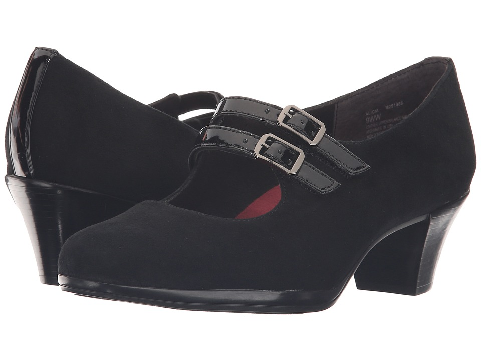 Munro - Alicia (Black Kid Suede/Patent Trim) Women's Shoes