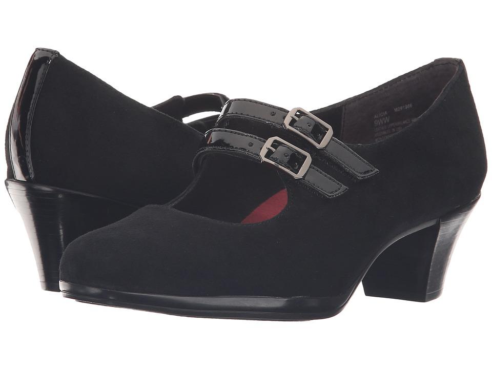 MUNRO Alicia (Black Kid Suede/Patent Trim) Women's  Shoes