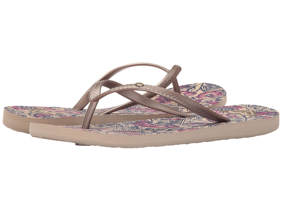 Roxy - Bermuda (Gold/Dark Pink) Women's Sandals