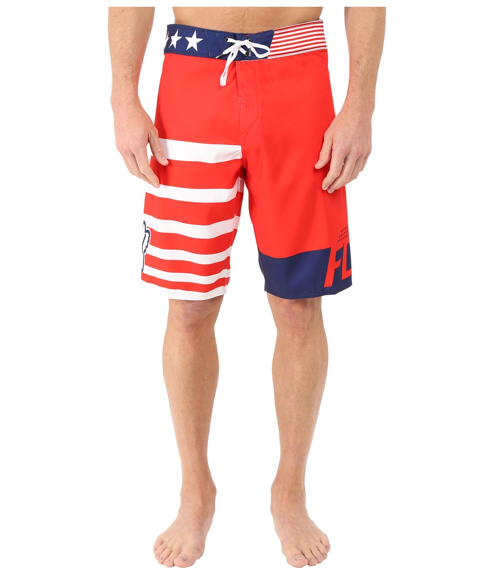 Fox - Red, White and True Boardshorts (Red) Men's Swimwear