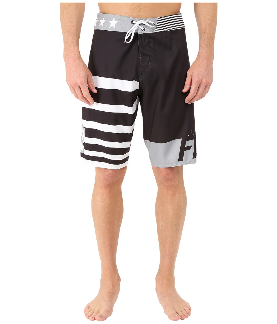 Fox - Red, White and True Boardshorts (Black) Men's Swimwear