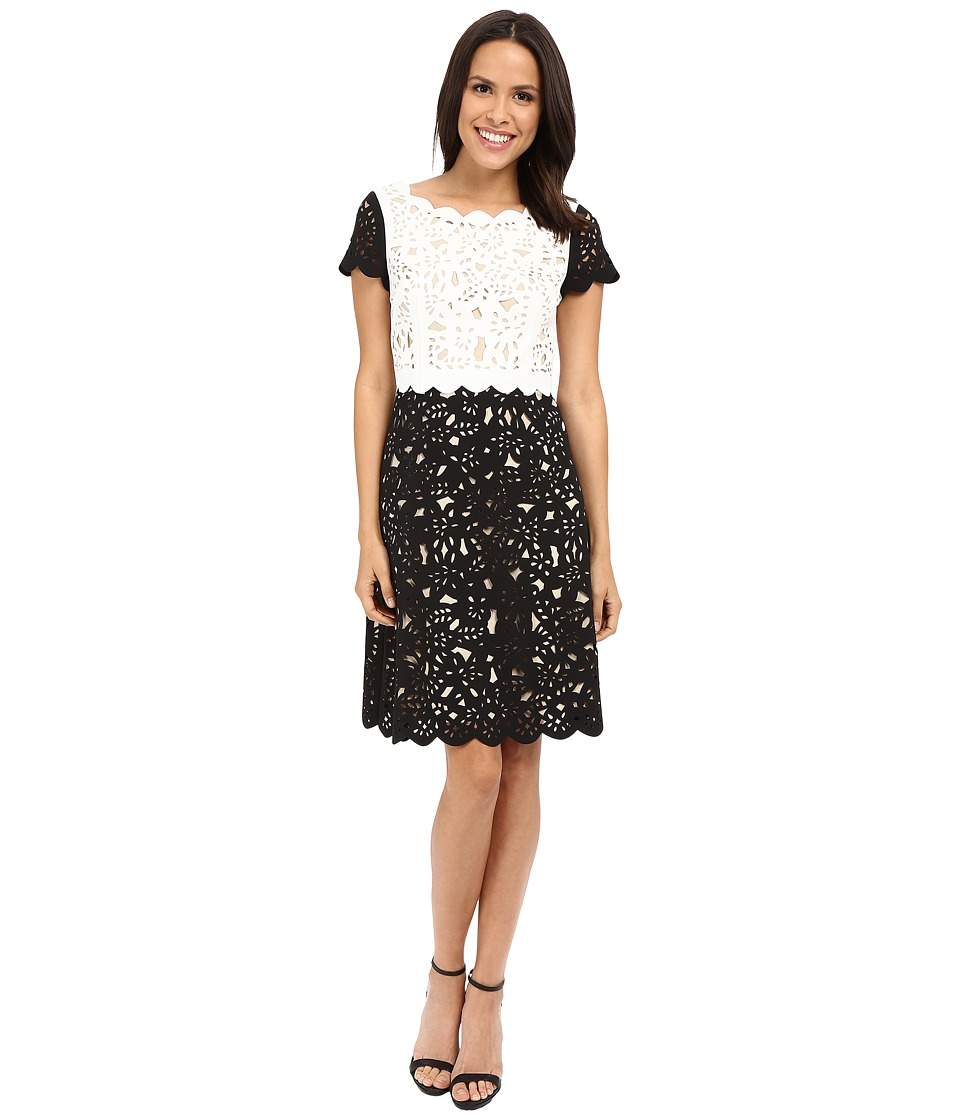 NUE by Shani - Fit Flare Laser Cutting Dress w/ Popover (Ivory/Black) Women's Dress