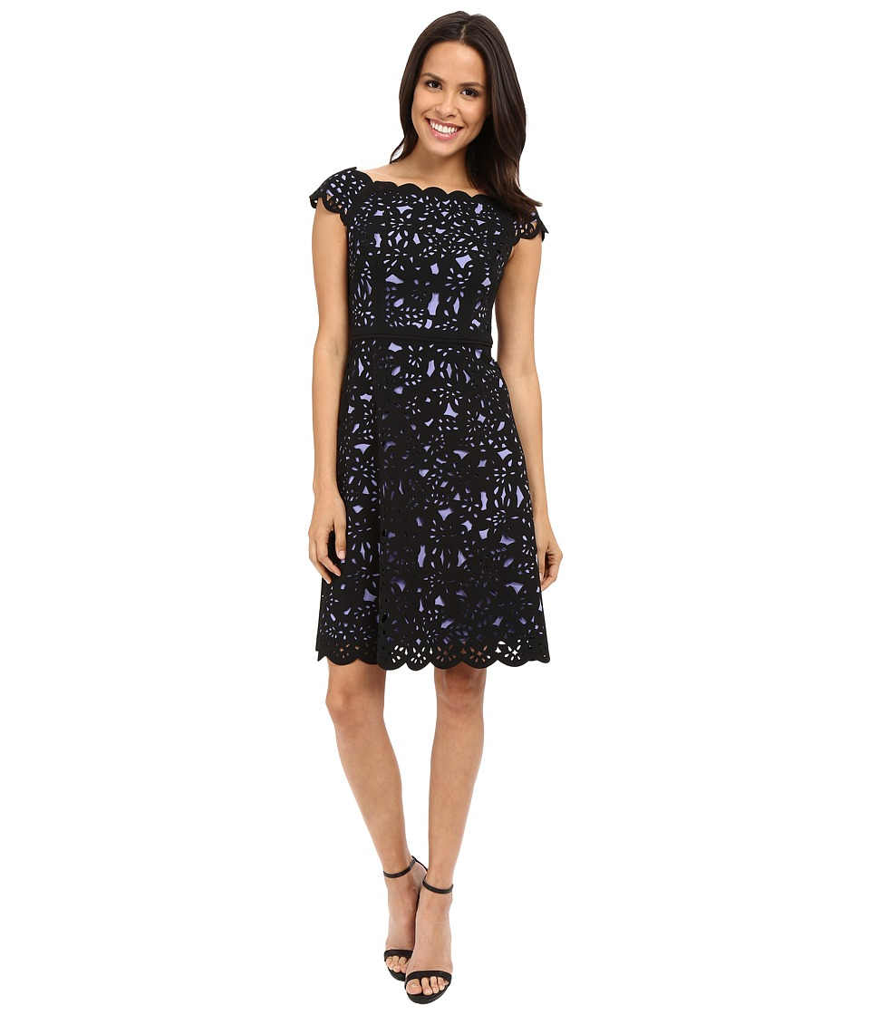 NUE by Shani Fit Flare Laser Cutting Dress w/ Side Neckline (Iris/Black) Women