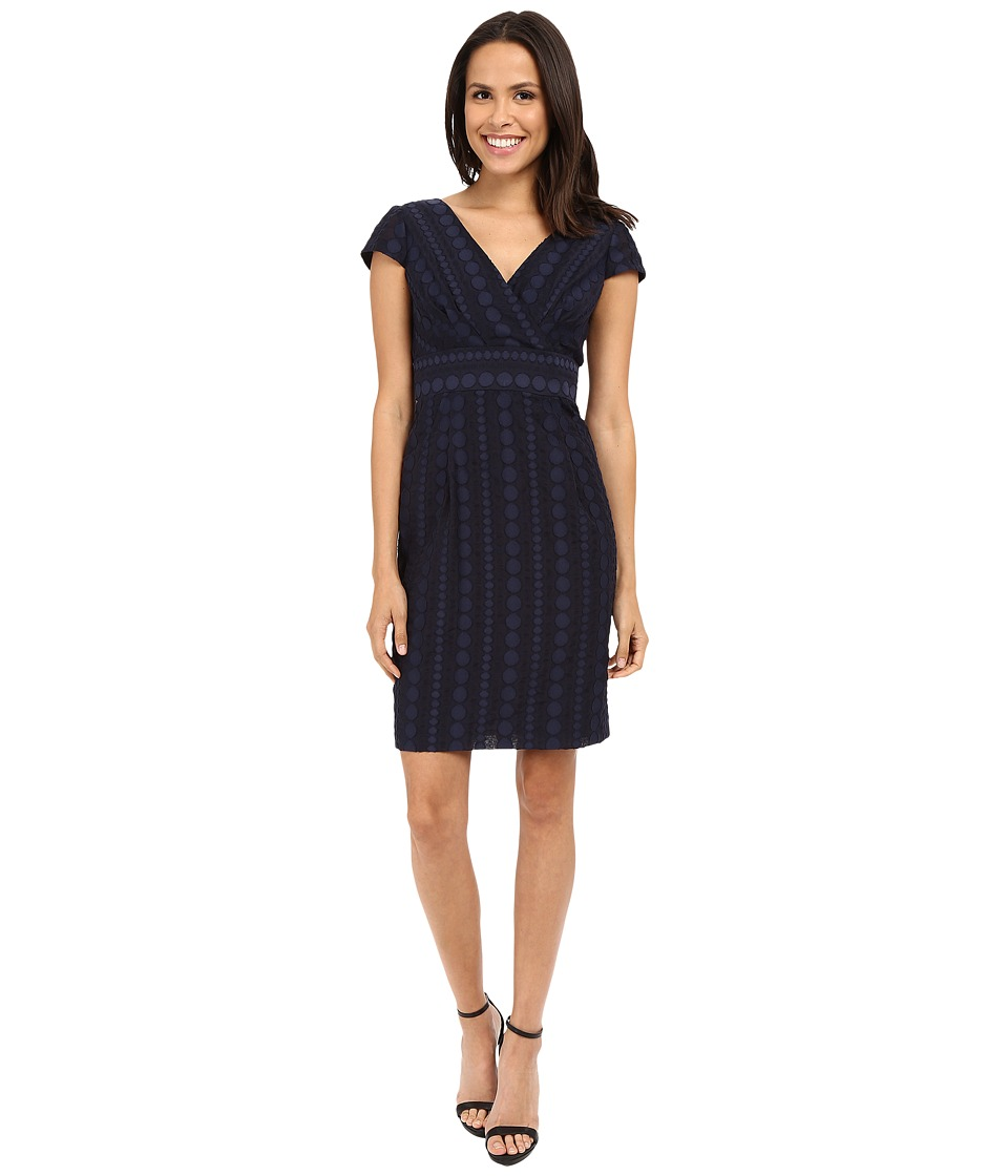 NUE by Shani Crossover V-Neck Novelty Woven Fabric Dress (Navy) Women