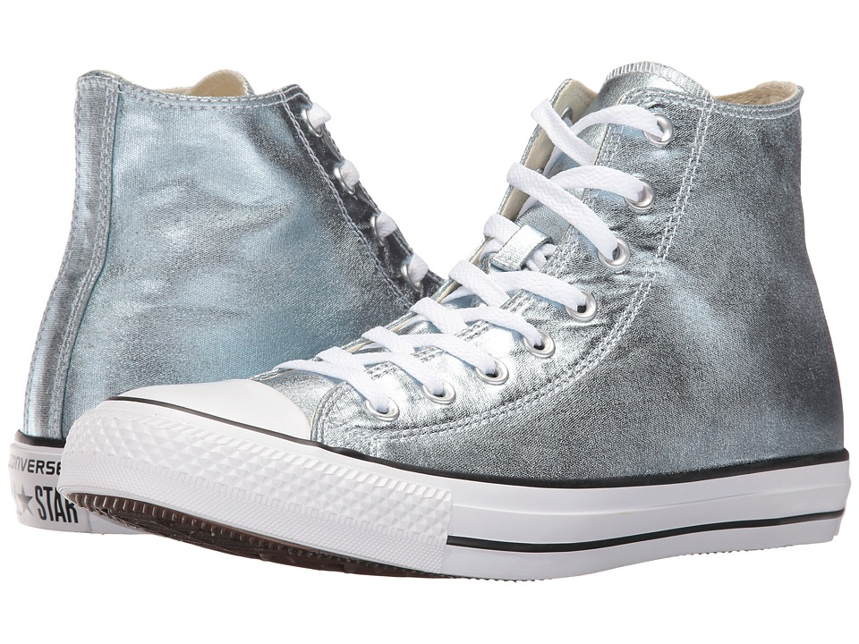 Converse Chuck Taylor All Star Metallic Canvas Hi (Metallic Glacier/White/Black) Athletic Shoes